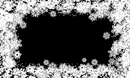Snow frame black white background. Transparent background with snowflakes.