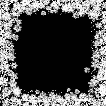 cadre: Snow frame black white background. Transparent background with snowflakes.