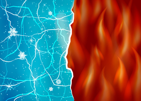 fire and ice: Ice and fire illustration. Opposites, contrast. Evil and good. Heat and cold.