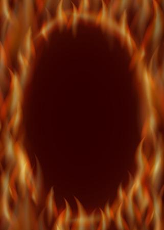 hot frame: oval frame of fire. Red hot illustration background.