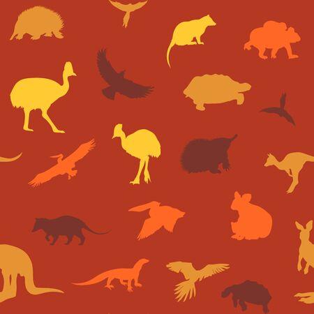 possum: Australian animals pattern. Vector colored orange background. Illustration