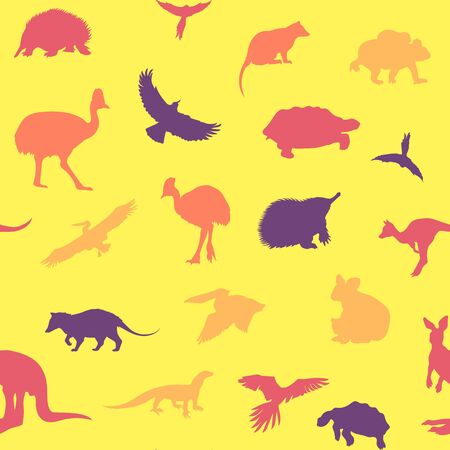 possum: Australian animals pattern. Vector colored yellow background.