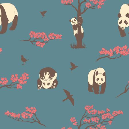 sakura tree: Seamless vector pattern of sakura tree and panda. Texture with twigs of a tree, birds and animals.