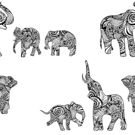 festal: Pattern with elephants in Indian style Vector floral endless background