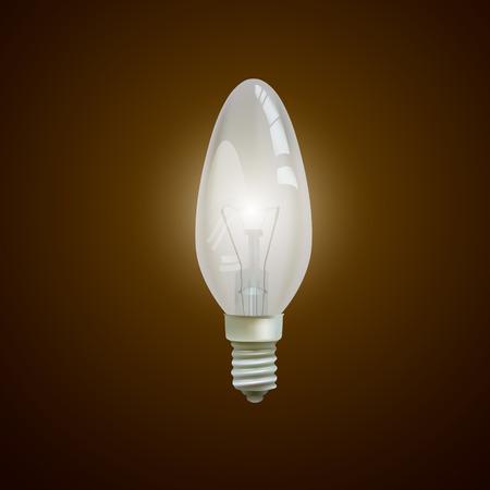 lit: Realistic lit light bulb isolated on black background. Illustration