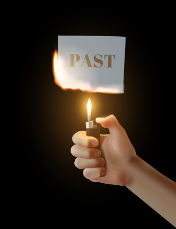 parting: Concept Parting with the past. hand with the lighter ignites paper.