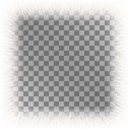 빈 공간 흰색 모피 프레임 배경입니다. 솜 털 벡터 프레임입니다.