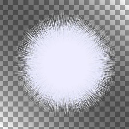 gomitoli di lana: Bianco vettore soffice isolato sfera su sfondo nero. Un pezzo di pelliccia.