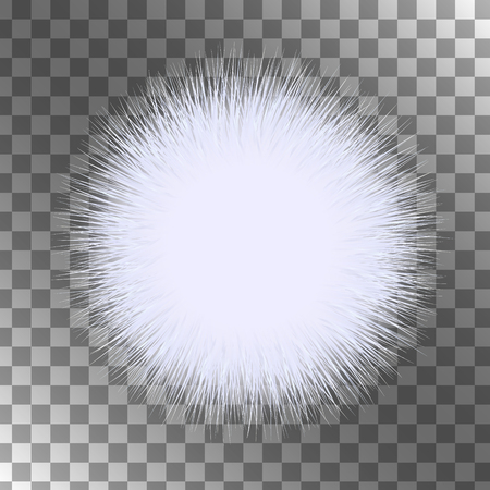 White fluffy vector isolated sphere on black background. A piece of fur. Illustration