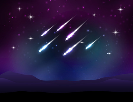 meteor: Vector meteor shower. Space background with stars. Illustration