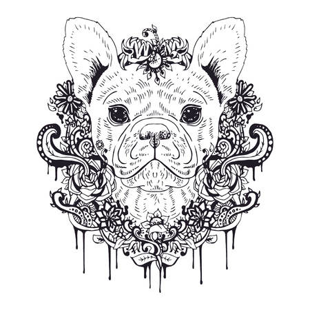 french bulldog: French bulldog graphic dog, abstract vector illustration. It may be used for design of a t-shirt, bag, postcard, a poster, phone case and so on.