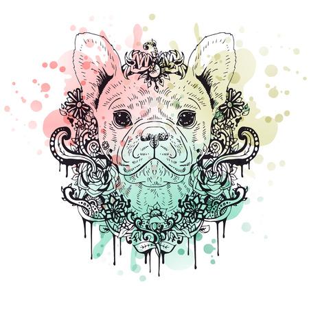 Franse buldog grafische hond, abstracte vector illustratie. Het kan worden gebruikt voor het ontwerp van een t-shirt, tas, briefkaart, een poster, telefoon geval en zo verder. Stock Illustratie