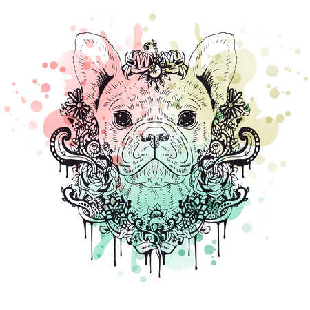 french: French bulldog graphic dog, abstract vector illustration. It may be used for design of a t-shirt, bag, postcard, a poster, phone case and so on.