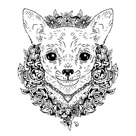 cane chihuahua: Cane della chihuahua grafica, illustrazione vettoriale astratto. Può essere usato per la progettazione di una t-shirt, borsa, cartolina, un poster, cassa del telefono e così via.