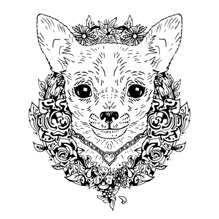 chihuahua puppy: Chihuahua graphic dog, abstract vector illustration. It may be used for design of a t-shirt, bag, postcard, a poster, phone case and so on.