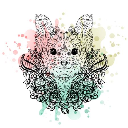 Yorkshire Terrier grafisch hond, abstracte vector illustratie. Het kan worden gebruikt voor het ontwerp van een t-shirt, tas, briefkaart, een poster, telefoon geval en zo verder. Stock Illustratie