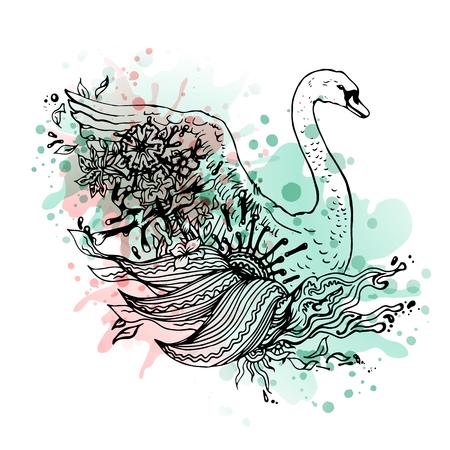 Swan waterverf, samenvatting grafische gekleurde vogel. Schetsen. Abstract vector vogel met bloemen. Print voor t-shirt. Wilde dingen. Stock Illustratie