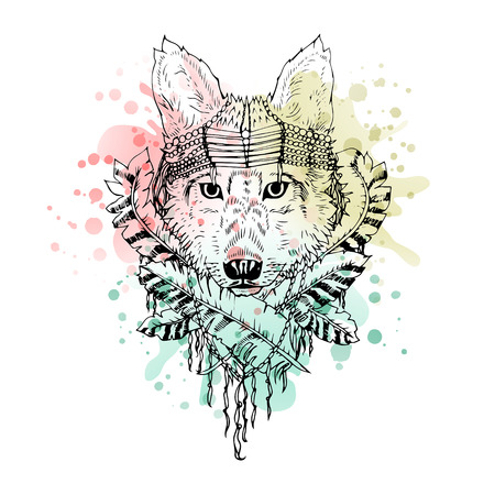 Black and white wild animal wolf head abstract art tattoo doodle cketch, boho style. Watercolor splash. Design for shirt, bag, jacket, package, phone case and so on. Vector illustration. Vettoriali