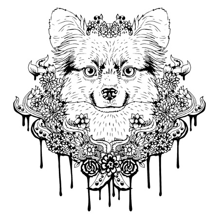 head phone: Black and white animal Dog head, abstract art, tattoo, doodle cketch. Dog breed Papillon. Outlines of pet. Design for t-shirt, bag, jacket, package, phone case and so on. Vector illustration.