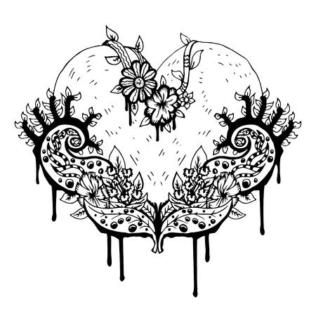 Schwarzweiss-Herz, Abstrakte Kunst, Tätowierung, Waterclor Doodle ...