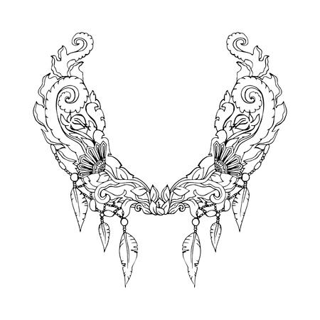 Motif floral sur le col, le cou impression. le style Boho. ornement linéaire Résumé. Vector illustration Vecteurs