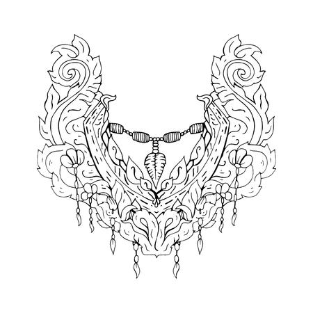 Motif floral sur le col, le cou impression. le style Boho. ornement linéaire Résumé. Vector illustration