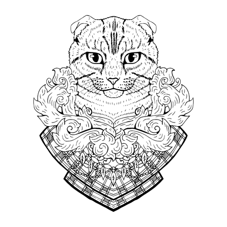 head phone: Black and white animal Cat head, abstract art, tattoo, doodle sketch. Scottish fold cat. Outlines of pet. Design for t-shirt, bag, jacket, package, phone case and so on. Vector illustration.