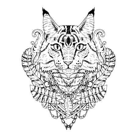 tomcat: Black and white animal Cat head, abstract art, tattoo, doodle sketch. Mancoon cat. Outlines of pet. Design for t-shirt, bag, jacket, package, phone case and so on. Vector illustration. Illustration