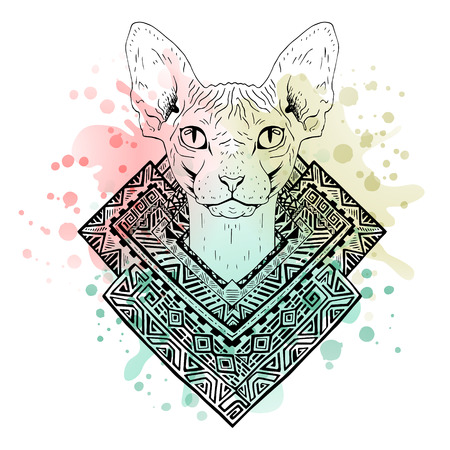 head phone: Black and white animal Cat head, watercolor abstract art, tattoo, doodle sketch. Sphynx cat. Outlines of pet. Design for t-shirt, bag, jacket, package, phone case and so on. Vector illustration.