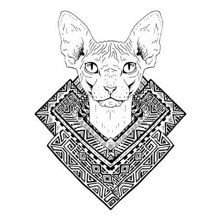 tomcat: Black and white animal Cat head, abstract art, tattoo, doodle sketch. Sphynx cat. Outlines of pet. Design for t-shirt, bag, jacket, package, phone case and so on. Vector illustration.