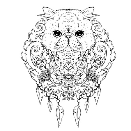 Black and white animal Cat head, abstract art, tattoo, doodle sketch. Persian cat. Outlines of pet. Design for t-shirt, bag, jacket, package, phone case and so on. Vector illustration.