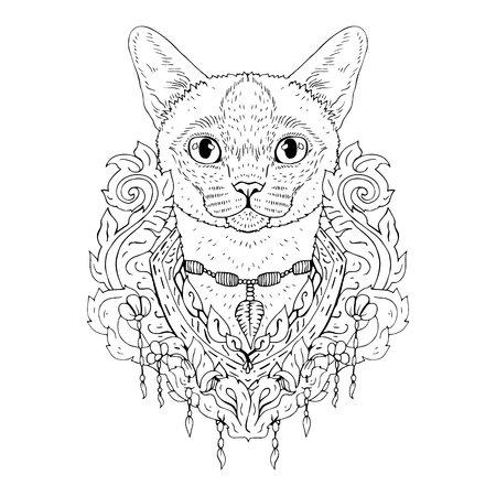 siamese: Black and white animal Cat head, abstract art, tattoo, doodle sketch. Siamese cat. Outlines of pet. Design for t-shirt, bag, jacket, package, phone case and so on. Vector illustration. Illustration
