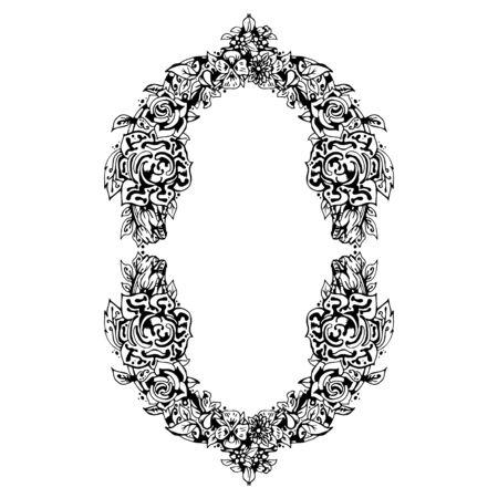 cutaway drawing: Black and white floral frame oval shape, abstract art, doodle sketch. Design for card, photo frame. Vintage border elements. Vector illustration. Illustration
