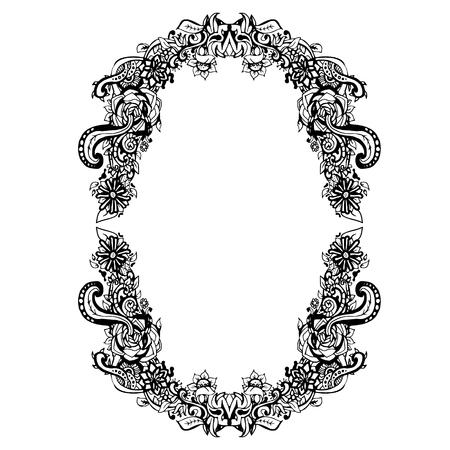 floral frame forme noir et blanc ovale, art abstrait, griffonnage croquis. Conception de la carte, cadre photo. éléments de bordure Vintage. Vector illustration. Vecteurs