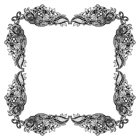 cutaway drawing: Black and white floral frame square shape, abstract art, doodle sketch. Design for card, photo frame. Vintage border elements. Vector illustration. Illustration