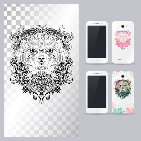maltese dog: Black and white animal dog head, boho style, abstract art, tattoo, doodle sketch. Maltese dog breed. Outlines of pet. illustration for phone case.