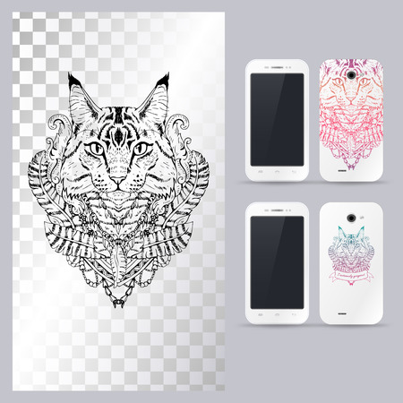 head phone: Black and white animal Cat head, boho style, abstract art, tattoo, doodle sketch. Mancoon cat. Outlines of pet. illustration for phone case. Illustration