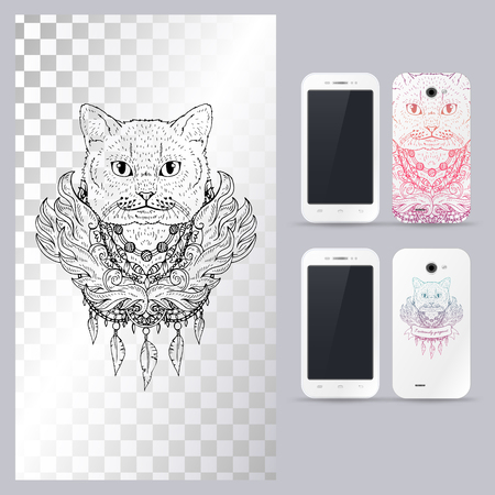 tomcat: Black and white animal Cat head, boho style, abstract art, tattoo, doodle sketch. British cat. Outlines of pet. illustration for phone case.