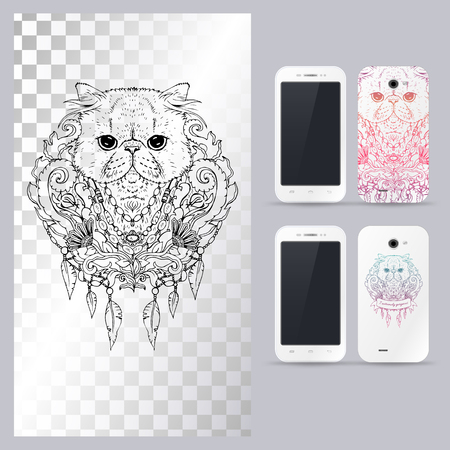 persian cat: Black and white animal Cat head, boho style, abstract art, tattoo, doodle sketch. Persian cat. Outlines of pet. illustration for phone case.
