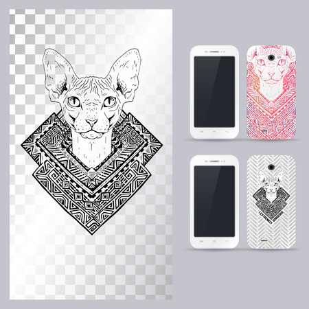 head phone: Black and white animal Cat head, boho style, abstract art, tattoo, doodle sketch. Sphynx cat. Outlines of pet. Vector illustration for phone case.
