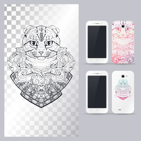 head phone: Black and white animal Cat head, boho style, abstract art, tattoo, doodle sketch. Scottish fold cat. Outlines of pet. illustration for phone case. Illustration