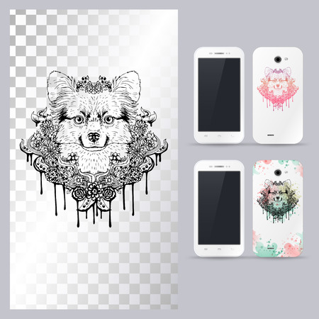 head phone: Black and white animal dog head, boho style, abstract art, tattoo, doodle sketch. Papillon dog breed. Outlines of pet. illustration for phone case. Illustration