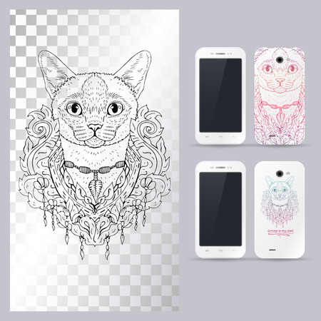 siamese: Black and white animal Cat head, boho style, abstract art, tattoo, doodle sketch. Siamese cat. Outlines of pet. illustration for phone case.