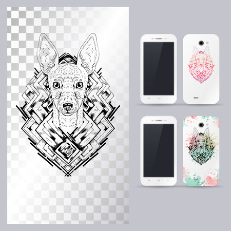 fox terrier: Black and white animal dog head, boho style, abstract art, tattoo, doodle sketch. Toy fox terrier dog breed. Outlines of pet.illustration for phone case.