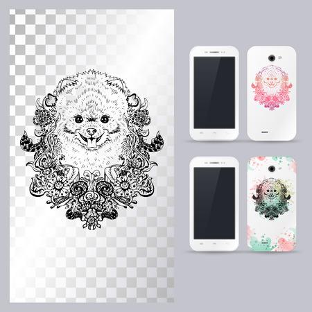 spitz: Black and white animal dog head, boho style, abstract art, tattoo, doodle sketch. Pomeranian spitz dog breed. Outlines of pet. illustration for phone case. Illustration