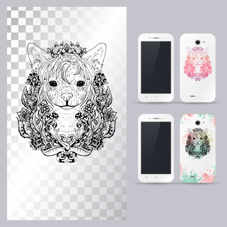 Black and white animal dog head, boho style, abstract art, tattoo, doodle sketch. Chinese crested dog breed. Outlines of pet. illustration for phone case.