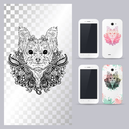 yorkshire: Black and white animal dog head, boho style, abstract art, tattoo, doodle sketch. Yorkshire terrrier dog breed. Outlines of pet. illustration for phone case.