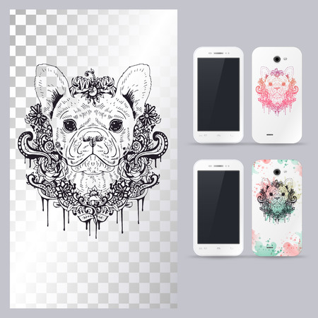 head phone: Black and white animal dog head, boho style, abstract art, tattoo, doodle sketch. French Bulldog dog breed. Outlines of pet. illustration for phone case.
