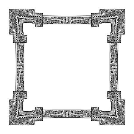 hand drawn frame: Geometric and hand drawn frame in ethnic style. Old black doodle tribal border. Square shape, doodle sketch. Boho design for card, photo frame.  Vector illustration. Aztec pattern, aztec ornament. Illustration