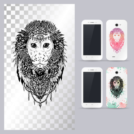 head phone: Black and white animal monkey head, boho style, abstract art, tattoo, doodle sketch. Outlines of wild monkey. Vector illustration for phone case. Illustration